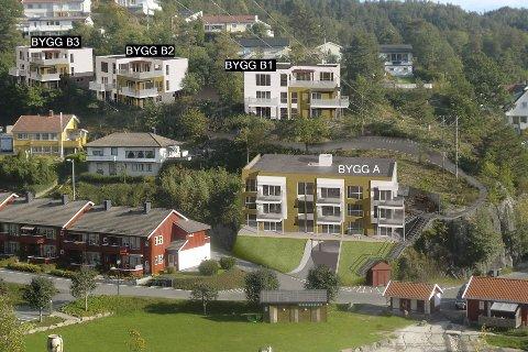 Første byggetrinn: Det er «Bygg A» som nå skal oppføres. Her er seks av ni leiligheter solgt.