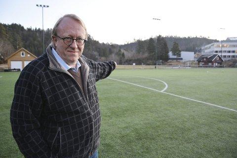 Ikke i tvil: Leder i Tvedestrand Høyre, Birger Eggen, mener det eneste riktige er å bygge en skole som er stor nok til å ta imot alle kommunens elever når den åpner om drøye tre år. foto: Marianne drivdal