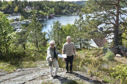 Befaring på Askerøya: Ingrid Thorbjørnsen peker mot området hun ønsker å oppføre ny hytte. Knut Aall, som er leder i teknikk, plan og naturutvalget følger med. Han har tidligere gitt uttrykk for at han er kritisk til hvordan kommunen har håndtert denne saken. foto: marianne drivdal