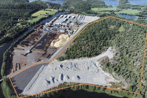 STOR TOMT: Området innenfor den oransje streken er tiltenkt som tomt for Biozin-fabrikken som Bergene Holm ønsker å etablere på Simonstad. I bakgrunnen det store sagbruket som nå er arbeidsplass for mange i vårt distrikt.
