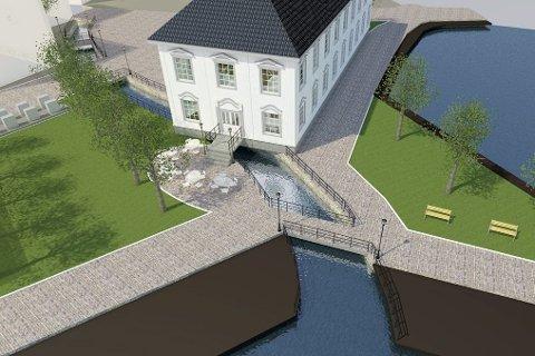 Kommende tirsdag skal kommunestyret avgjøre om Møllebekken skal åpnes. Illustrasjon: Atle Goutbeek.