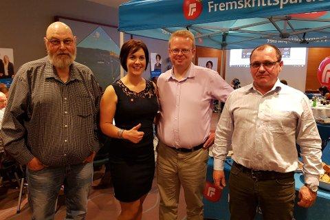 Fv Magne Busdal, Åshild Bruun-Gundersen, Yngve Monrad (leder av FrPs lokallag i Tvedestrand) og Kurt Jensen.