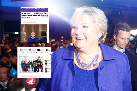 Erna Solberg fortsetter som statsminister. Foto: Heiko Junge (NTB Scanpix)/Faksimile (New York Times/Bloomberg)