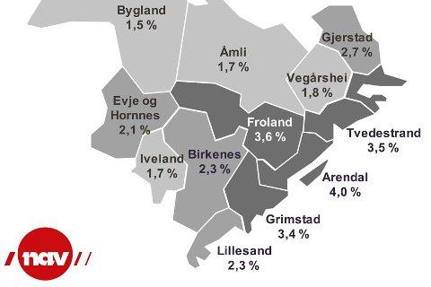 Ledighetskartet fra NAV viser hvor høy ledighet de forskjellige kommunene har ved utgangen av august.