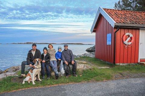 Fra venstre: Hans Olav Sørensen og Lasse, Antje, Tallak og Jan Pfleiderer. Margit sitter foran.