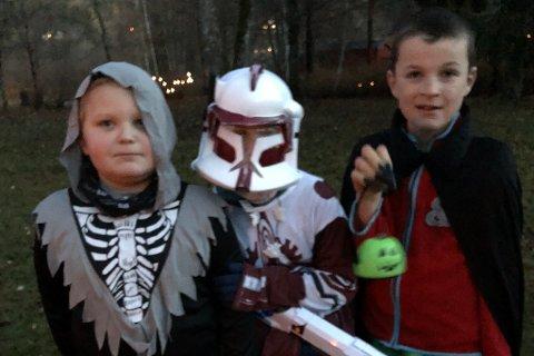 Jon Adrian (8), Martin (9) og Eivind (9) bar kostymer som var inspirert av Star Wars.