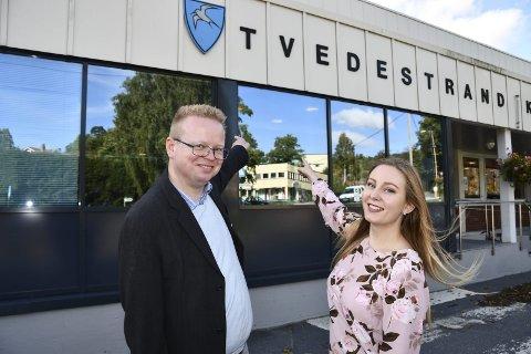 Silje Haugli og Yngve Monrad: Står som henholdsvis nummer en og to på FrP-lista, og var først ute med å banke valgprogrammet. De to satser på et godt valg. Arkivfoto