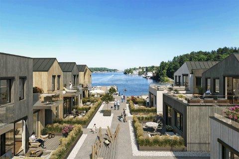 Stor forvandling: Slik tenker utbyggerne at det kan bli på Holmen i Kilsund. Både beliggenheten, utseende og reglene får flere til å fortvile.