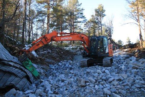 Grunnarbeidene i utbyggingsområdet er i gang. Foto: Marianne Stene