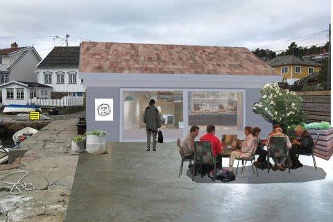 Denne fotomontasjen ligger ved søknaden fra Brød og Vind AS, og viser hvordan serveringsområdet vil se ut. Illustrasjon: Asplan Viak