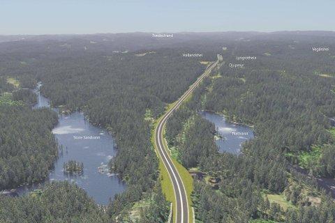 Hallandshei blir det høyeste punktet på den nye E18 mellom Tvedestrand og Risør/Vegårshei. Dette punktet blir et av flere stridstemaer i den videre debatten.