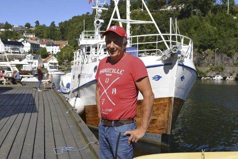 Vidar Hopen: Vil selge nykokte krabber, reker og kreps fra brygga i Tvedestrand i sommer.  Arkivfoto