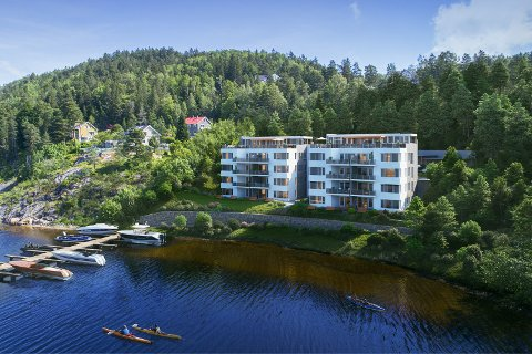 Slik er leilighetsbyggene med bryggeanlegg tegnet inn ved Songevann. (Illustrasjonsbilde fra prospektet på Finn.no)