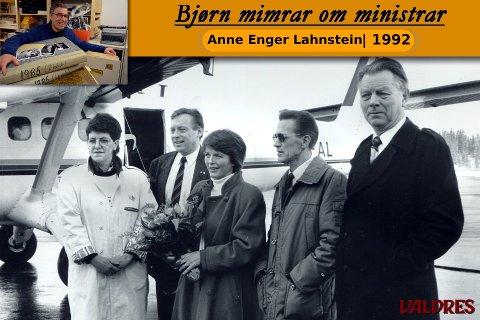 Mottakskomité på Leirin i 1992: Fv. leiar i Vestre Slidre Senterparti, Gerd Våtsveen, ordførar i Øystre Slidre, Terje Stenseng, Anne Enger Lahnstein, ordførar i Etnedal, Odd Byfuglien og ordførar i Vang, Erling Øraker.