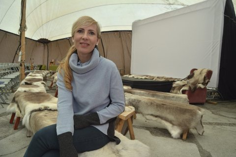 Sydd lerret: Kultursjef Renate Remme Øverseth ved den alternative kinoen under Vinterfest i Fagernes 2018.