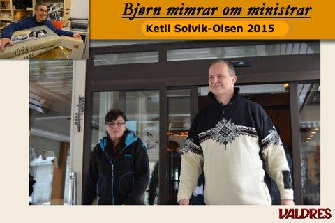 Ketil Solvik-Olsen saman med partifelle Line Sandli frå Sør-Aurdal på hotellet på Fagernes i 2015.