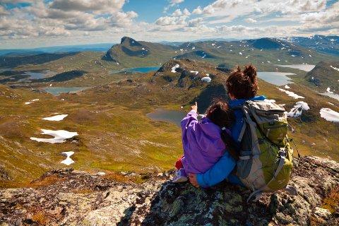 UTSIKT: Fra Heimre Fagerdalshøe mot Fagerdalen, Mefjellet og Bitihorn.