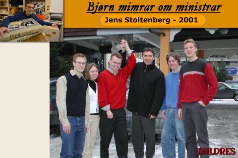 Inn på Stortinget: Espen skal inn på Tinget, sa statsminister Jens Stoltenberg på Fagernes 30. mars 2001. Her saman med f. v. AUF-arane Pål Mangerud, Annette Kildal, Åsmund Furøy og Kjetil Lundmoen.