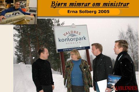 Erna Solberg besøkte Valdres kontorpark i februar 2006. F. v. ser vi elles styreleiar i Scanaccount, Osvald Fossholm, gruppesekretær John Ragnar Aarseth og dåverande leiar i Oppland Høgre, Audun Blegen.