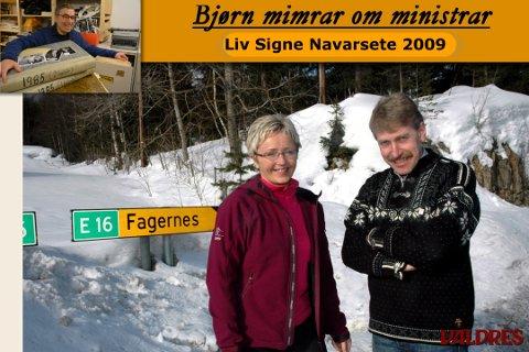 Liv Signe Navarsete og Kåre Helland i mars 2009, etter at E16 i Valdres var lagd inn i Nasjonal transportplan.