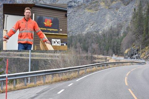 Utfylling og tunnellpåhogg i sør: Her i Hugavika vil påhogget for den nye tunnelen gjennom Kvamskleiva koma. Mellom anna kjem det ei stor utfylling i fjorden og det blir bygd eit vanleg T-kryss her for å handtere lokaltrafikken.