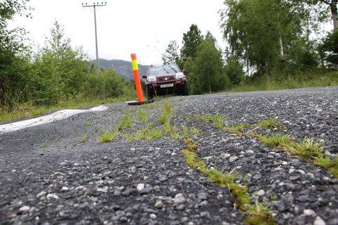 BLIR GRUSVEG: På deler av Vestbygdvegen er asfaltdekket i så dårlig forfatning at hullene ikke lenger lar seg bøte. Kommunen har derfor besluttet å fjerne dekket.