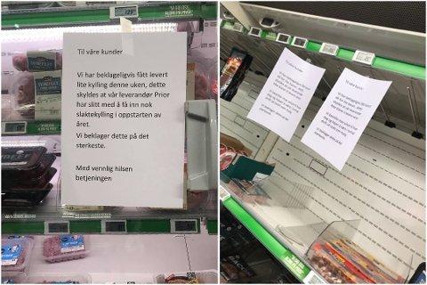 MANGEL: Slik så det ut i disken hos Kiwi i Rælingen mandag ettermiddag. Nå opplyser kjeden at de har problemer med å få tak i nok kylling over hele landet. Foto: RB-tipser