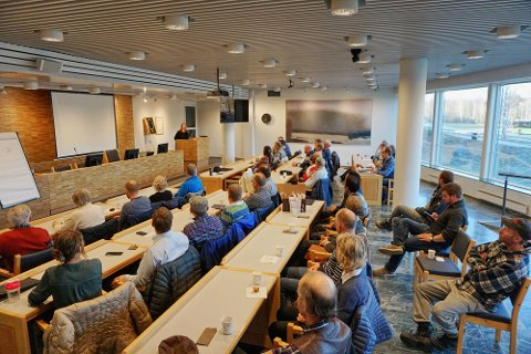 Senterpartiets åpne møte i kommunestyresalen om framtiden for landbruket i Nittedal, samlet fullsatt sal (Foto: Privat).