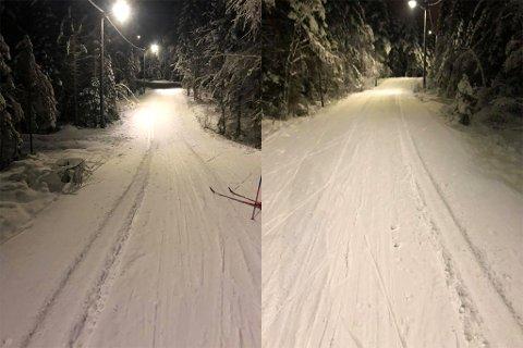 ØDELAGT: Slik ser store deler av lysløypa ut etter at noen har kjørt nesten fem kilometer i det populære skiområdet.