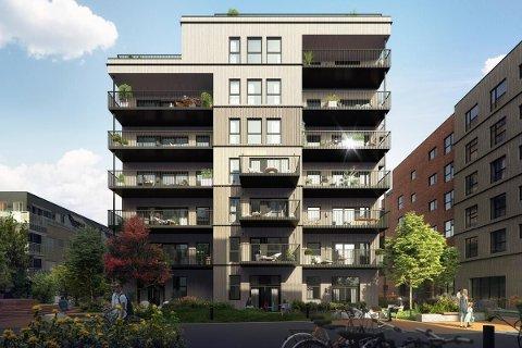 TOPPETASJEN: Leiligheten består av hele toppetasjen i boligprosjektet Aveny Vest, og skal ferdigstilles i oktober.