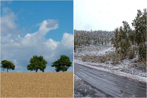 SOL OG SNØ: På Romerike blir det nærmest rekordvarme, mens det i Sulitjelma i Nordland har kommet snø i løpet av natta.
