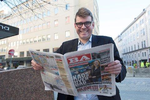 Sjefredaktør og administrerende direktør i Bergensavisen Sigvald Sveinbjørnsson understreker at BA fortsatt skal satse sterkt på næringslivsjournalistikk, selv om nettportalen vest24.no legges ned. FOTO: ARNE RISTESUND