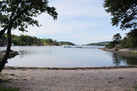 FRARÅDER BADING HER: Vestby kommune ber badende om å vente til svarene på vannprøvene for Brevikbukta foreligger før de anbefaler bading.