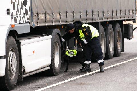 En toller med en av sine firbeinte medarbeidere inspiserer et vogntog på oppstillingsplassen på Tollvesenets grensestasjon på Svinesund. Illustrasjonsfoto: Heiko Junge / NTB scanpix