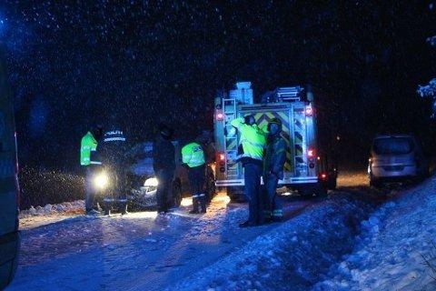 ERIKSTADVEIEN: på Erikstadveien ved Pepperstad i Vestby var det på morgenkvisten et uhell som følge snøfallet. To biler var involvert, men det oppsto ingen personskader.