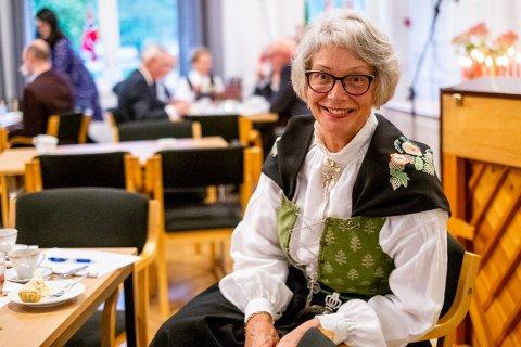 Leder Elisabeth Hystad storkoste seg under misjonsforeningenes bursdagsfeiring.
