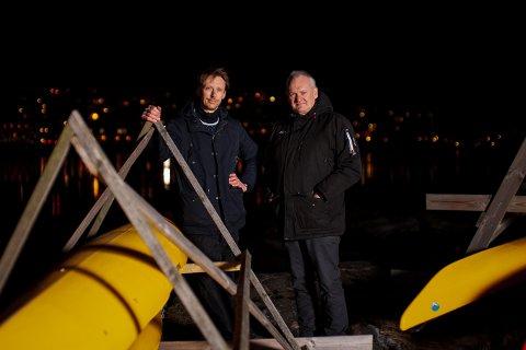 PADLEMILJØ: Øyvind Kristiansen (til venstre) og Jan Petter Hansen er pådriverne for at det nå skal bygges opp et kajakkmiljø i Son. Neste helg blir det trolig stiftelsesmøte for Son Kajakkforening.