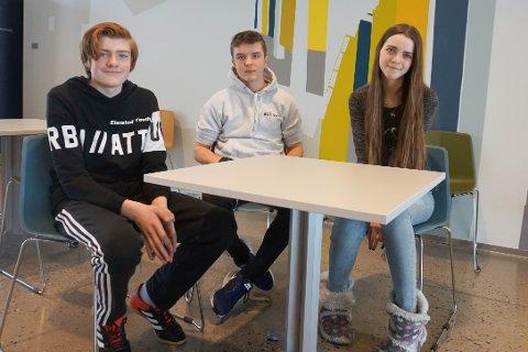 NYTTIG: Elevrådsrepresentantene Adrian Nygaard (13) (f.v.), Sander Porsholt (15) og Charlotte Andersen Herskedal (14) ved Vestby ungdomsskole tror den nye Snapchat-tjenesten til Vestby kommune kan være nyttig i kampen mot mobbing.