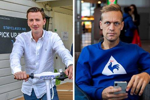 TV-profil og influenser Mads Hansen (t.h.) går hardt ut mot Hølen-firmaet Stayclassy og eier Thomas Holstad (t.v.).