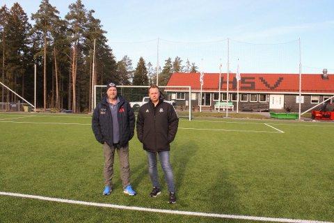 STOR INTERESSE: Styreleder Jonny Linus Halvorsen  (til venstre) i HSV Fotball forteller at det er stor interesse for å bli daglig leder Claus Kristian Evensens etterfølger.