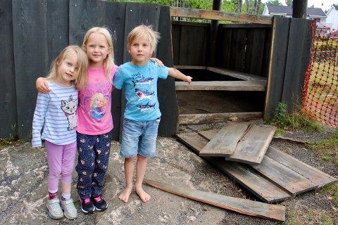 F.v. Oline (4), Ovelia (5) og Ravn Magnus (5) synes det er veldig rart og dumt at noen har ødelagt den fine gapahuken i barnehagen deres.