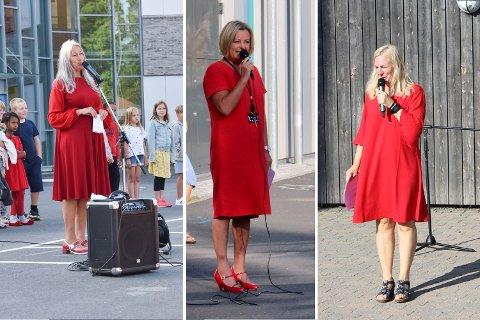 Rektorene ved Bjørlien, Brevik og Vestby skole var alle kledd i røde kjoler første skoledag.