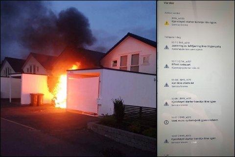 KRAFTIG BRANN: Brannen som oppsto tidlig lørdag morgen var svært kraftig. Til høyre i bildet er feilmeldingene som dukket opp i forkant, ifølge eieren.