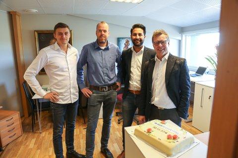 Ruslan Akhmadejev, Endre Skobba, Yousif Kamal og Sivert Bringslid i Tide forsikring åpner lokalkontor i Tønsberg.