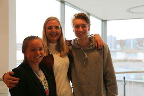 Thea Alveid (f.v., Nøtterøy vgs), Susanne Tangård (Færder vgs) og Fredrik Adolfsen, Greveskogen vgs) er daglige ledere i hver sin ungdomsbedrift.