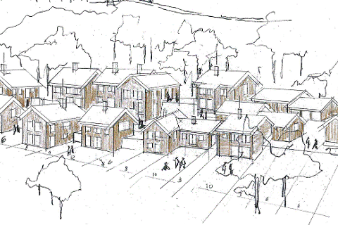 GROVSKISSE: Her er en grovskisse som forteller litt om hvordan Jappe Nielsen Arkitekter tenker at de nye hyttene på Søre Åsen ved Tunhovd kan bli seende ut.