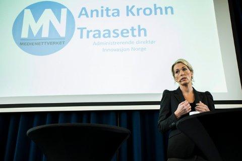 INNOVASJON NORGE-SJEF: Direktør Anita Krohn Traaseth i Innovasjon Norge, her under Medienettverkets konferanse i november i fjor.