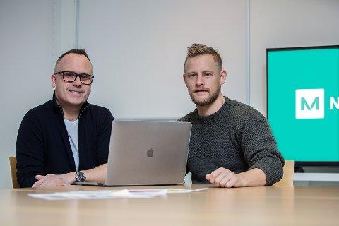 VIL REDDE BUTIKKEN PÅ HJØRNET: Kenneth Hauge og Aleksander Gjessing lanserer nettstedet og appen NovaManus hvor de skal løfte fram lokale butikker og kjøpmenn.