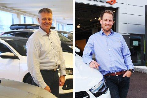 SLÅS SAMMEN: Bjørn Georg Sørensen (til venstre), daglig leder i Mobile Jarlsberg, fortsetter i samme rolle i det fusjonerte selskapet. Fredrik Sørensen startet som daglig leder i Mobile Tønsberg for bare et halvt år siden. Han vil se seg om etter noe annet.