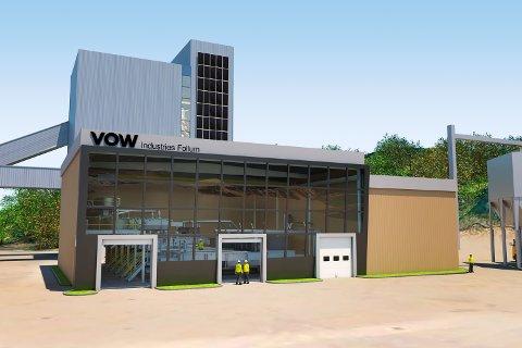 FABRIKK: Den planlagte fabrikken skal bygges på området til den tidligere papirfabrikken på Follum ved Hønefoss. Teknologien Vow har utviklet gjør bioavfall og biomasse til biokarbon og gass ved hjelp av pyrolyse, dvs. forbrenning uten tilførsel av oksygen.
